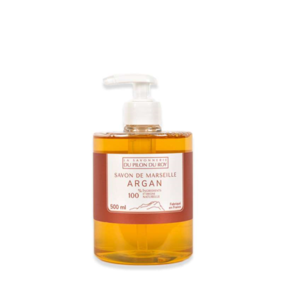 Savon de Marseille, 500ml, liquide enrichi Huile d'Argan / Orange douce de la Savonnerie du Pilon du Roy
