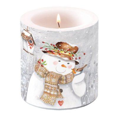Bougie de Noël - Petit format - Snowman holding Robin - Ambiente