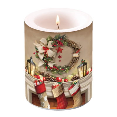 Bougie grand format - Wreath and socks - Ambiente