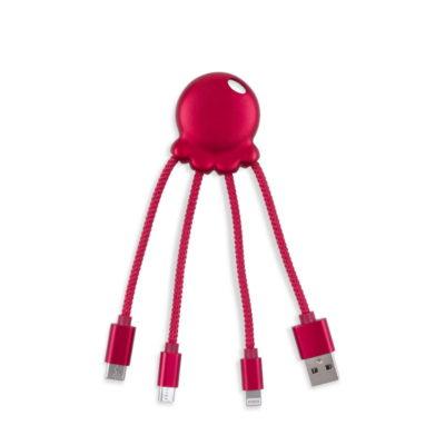 """Câble multi-connecteurs """"Octopus Metallic Rouge"""" de Xoopar"""