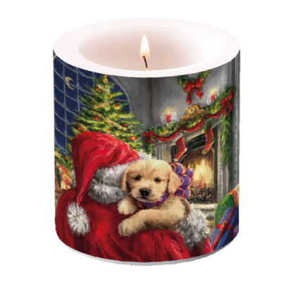 Bougie de Noël - Petit format - Small puppy at fire - Ambiente
