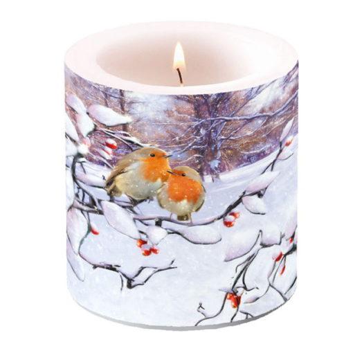 Bougie de Noël - Petit format - Robins on branch - Ambiente