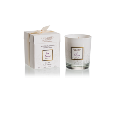 Bougie parfumée 250gr senteur Iris Blanc, de Collines de Provence - Gamme Fleurs blanches