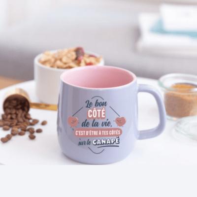 Mug céramique - Le bon côté de la vie, c'est d'être à tes côtés sur le canapé - Mr Wonderful