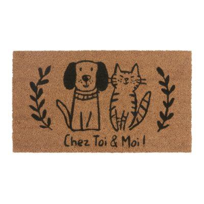 Paillasson COCO PVC - Chat et chien - Derrière la porte