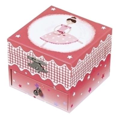Boite à Musique Cube Phosphorescent Ballerine - Rose Foncé - Trousselier