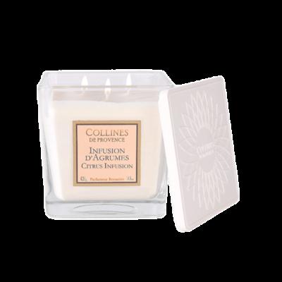 Bougie parfumée 3 mèches, 420gr , senteur Infusion d'agrumes, de Collines de Provence