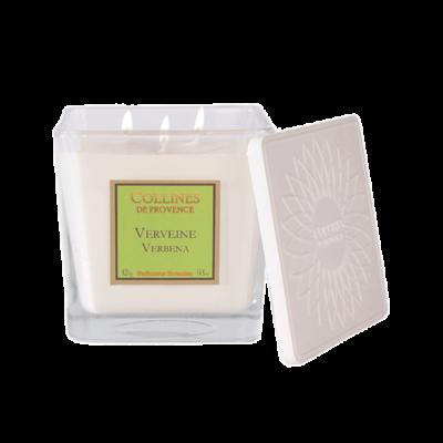 Bougie parfumée 3 mèches, 420gr, senteur Verveine, de Collines de Provence - Gamme Les naturelles