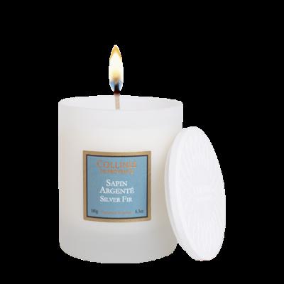 Bougie parfumée 180gr, senteur Sapin argenté, de Collines de Provence - Gamme Les naturelles