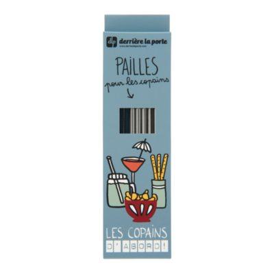 Set de 10 pailles avec goupillon - METAL - Les copains gris - Derrière La Porte