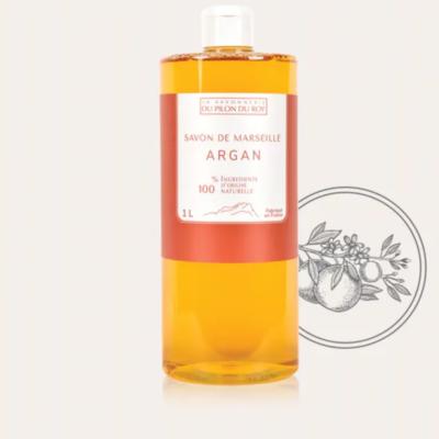 Recharge Savon de Marseille, 1L , liquide enrichi Huile d'Argan / Orange douce - Savonnerie du Pilon du Roy