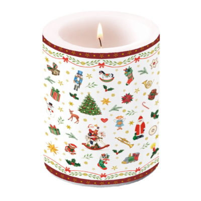 Bougie grand format - Ornaments All Over red - Ambiente Europe