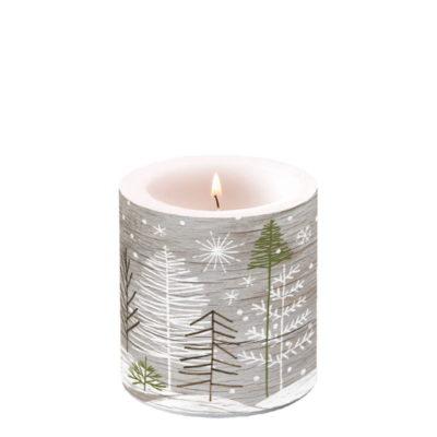 Bougie de Noël - Petit format - Trees On Wood - Ambiente Europe