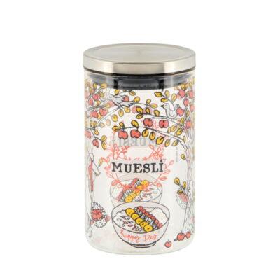 "Bocal à Muesli - ""Happy dej"" - Modèle MOYEN - Derrière la porte"