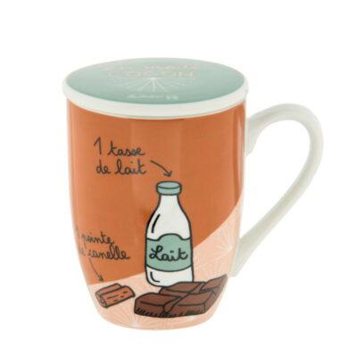 """Mug avec couvercle - Modèle MEUNIER - """"Mon choco"""" - Derrière la porte"""