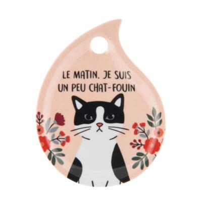 """Repose sachet de thé - Modèle LARME - """"Chat foin"""" - Derrière la porte"""
