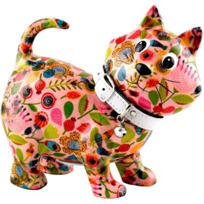 Tirelire - Kiki le chat - Rose fleuri - Taille M - Pomme Pidou