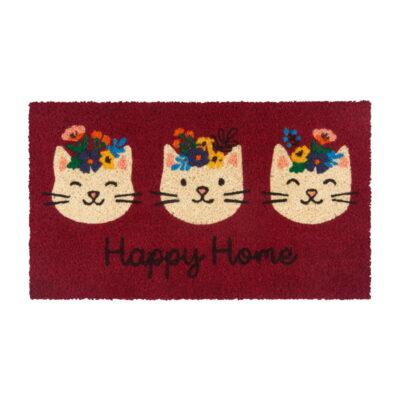 Paillasson COCO PVC - 3 chats happy home - Derrière la porte