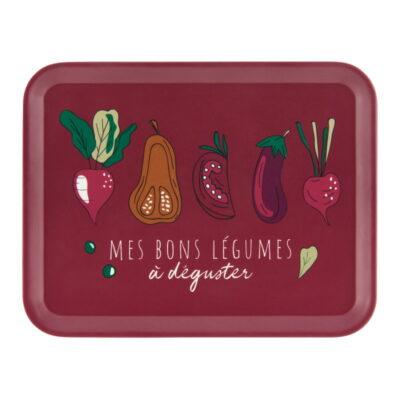 """Plateau 27 x 21 - Modèle Raxe - Gamme """"Bons légumes"""" - Derrière la porte"""