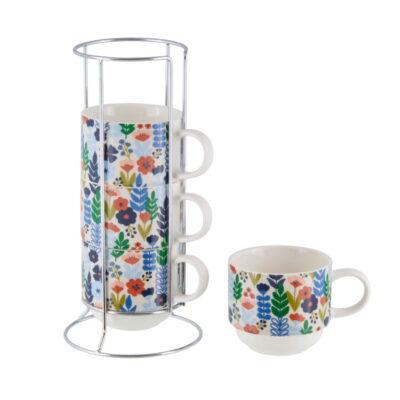 Rack 4 tasses avec sa boîte - Ma cuisine fleurie - Derrière la porte