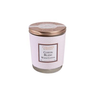 Bougie parfumée 180gr, senteur Coton Blanc, de Collines de Provence - Gamme Couture