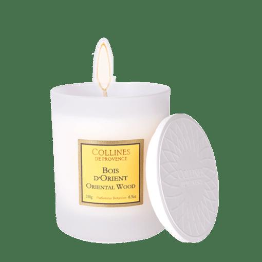 Bougie parfumée 180gr, senteur Bois d'Orient, de Collines de Provence - Gamme Les naturelles