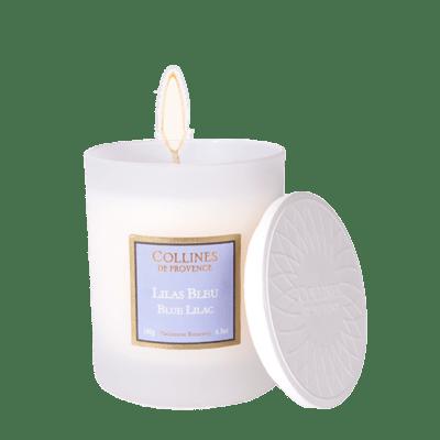 Bougie parfumée 180gr, senteur Lilas Bleu, de Collines de Provence - Gamme Les naturelles